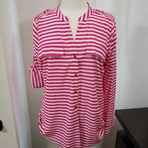 Calvin Klein Striped Blouse Sz M NWOT